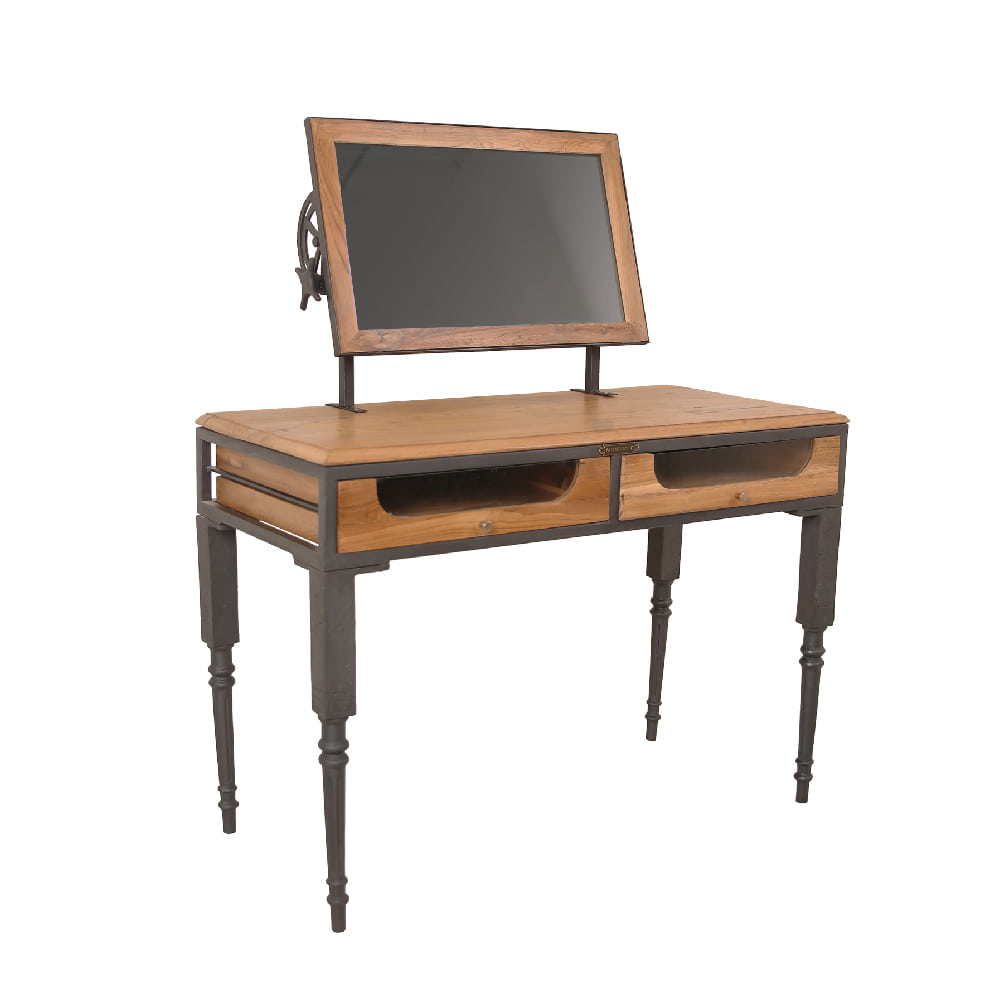 IRON & WOOD 2 DR TABLE WITH MIRROR (BHANCK-CS034)