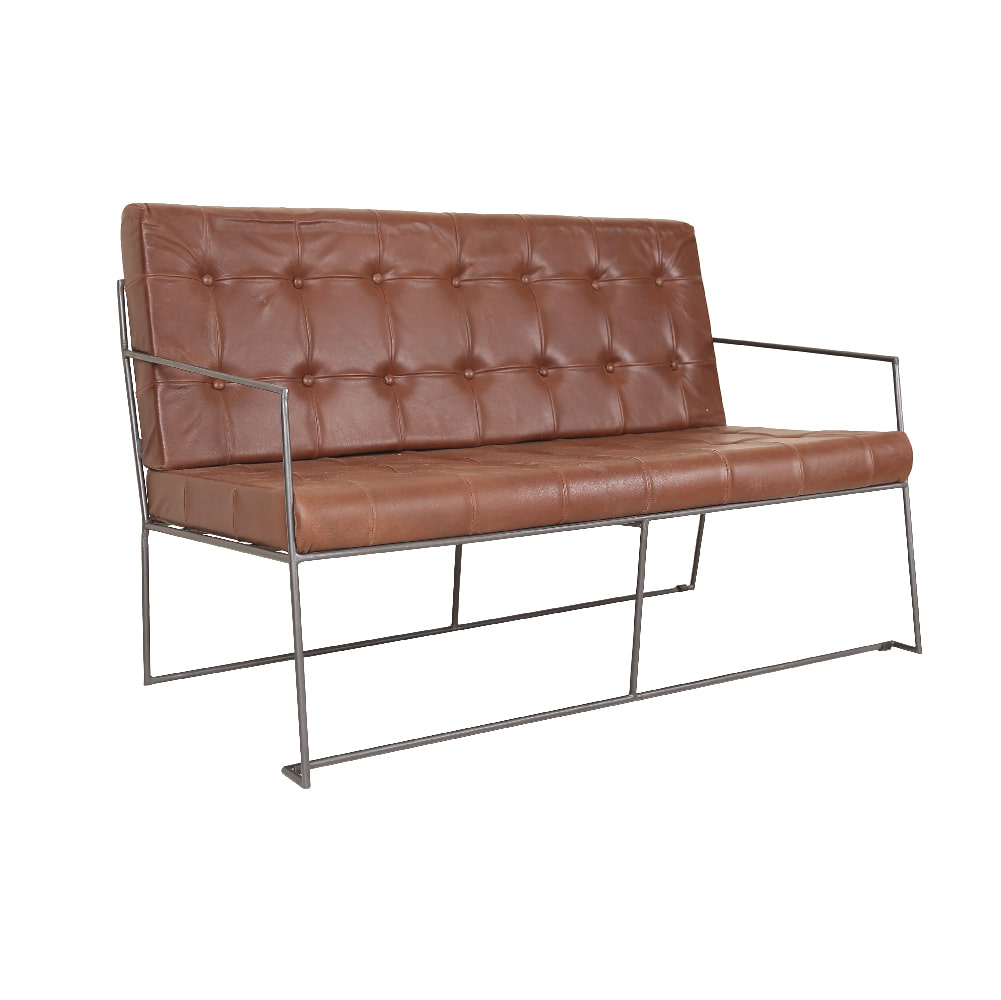 IRON & LEATHER DOUBLE SOFA (BHANCK-S006LD)