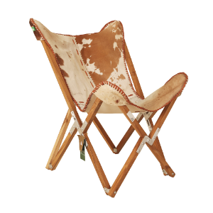 WOODEN + HAIR ON LEATHER BUTTERFLY CHAIR (ANC-BC-C001)