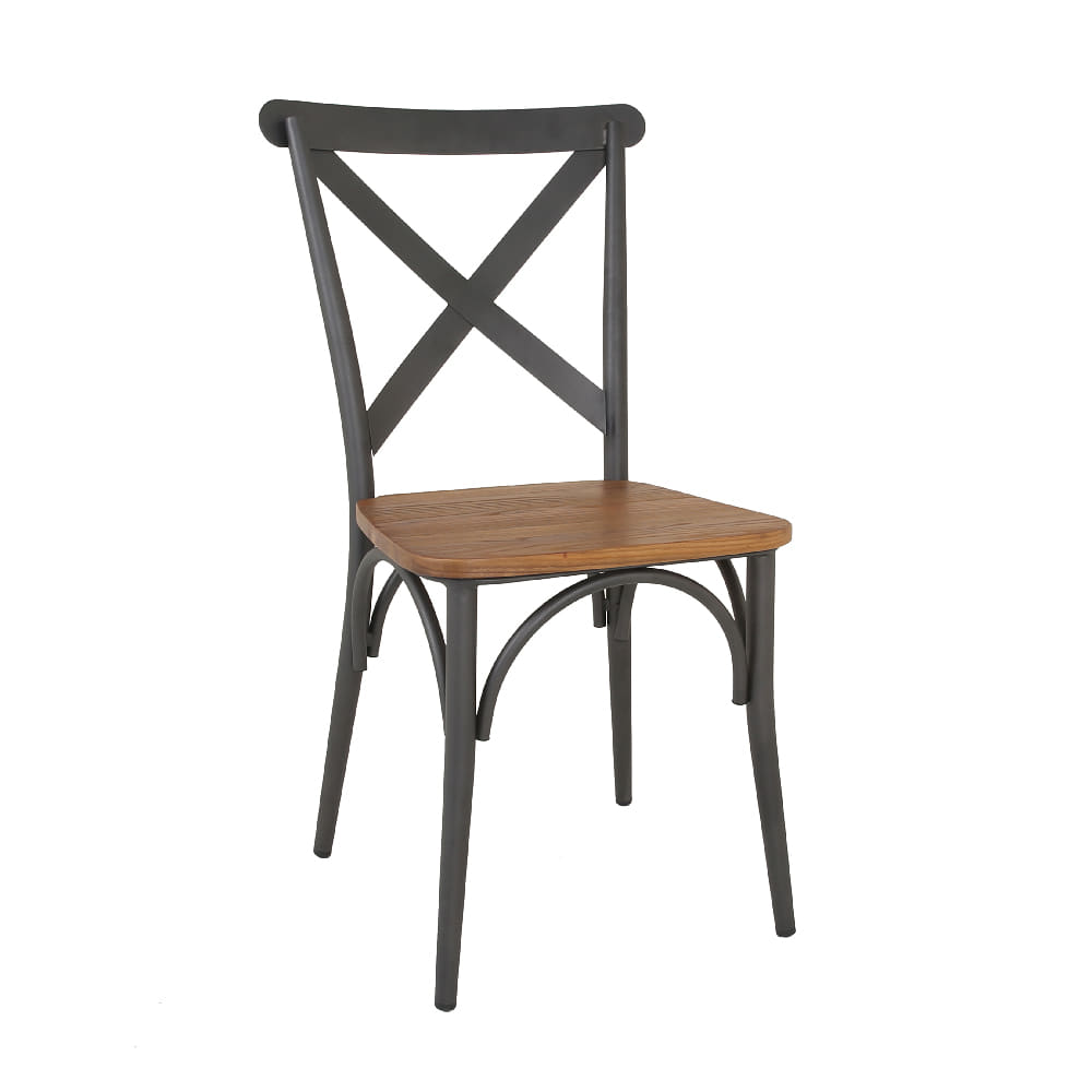 STEEL TUBE CHAIR WITH WOOD SEAT (AJ-M521-18)