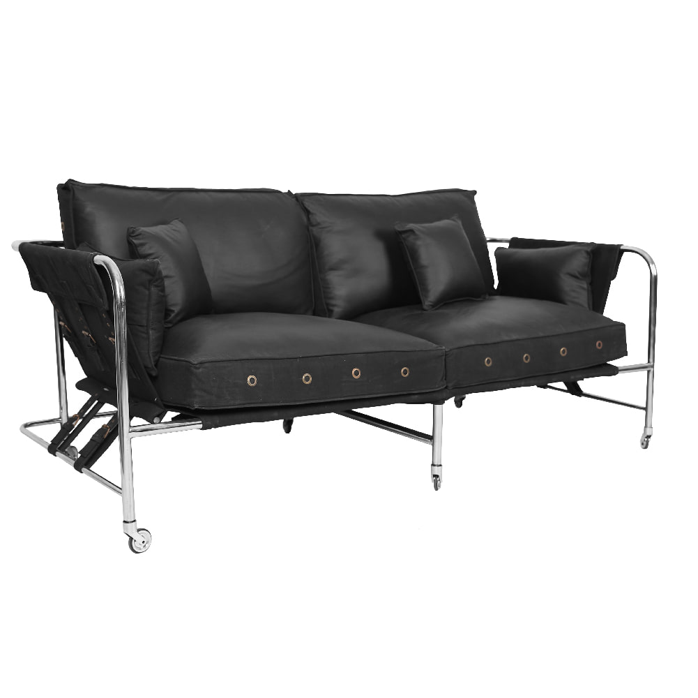 LEATHER AND CANVAS 2 SEATER SOFA (BHANCK-S002BD)