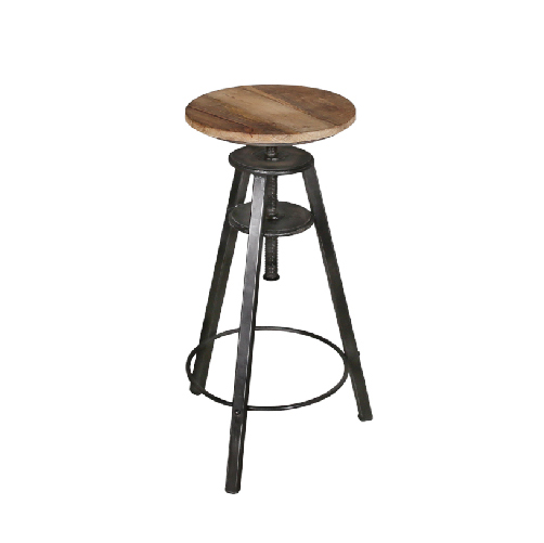 IRON BAR STOOL WITH WOODEN TOP (HEWK-007)